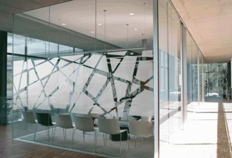Película jateada para portas de vidro